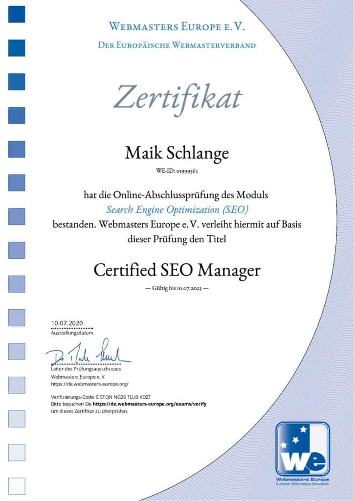 Zertifikat SEO Manager von Webmasters Europe