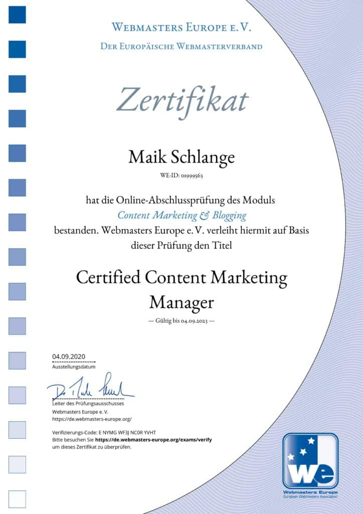 Content Marketing Zertifikat